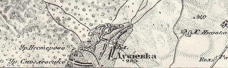 Дубіївка на мапі Шуберта